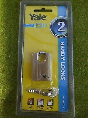 1 x YALE 30 MM BRASS PADLOCK    ARMOURED  SHACKLE- FREE POSTAGE