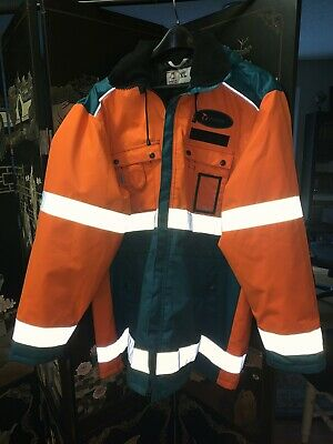 High Visibility Leijona Orange & Green XL Coat Jacket With Hood & Metso Patches