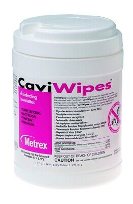 """Metrex 13-1100 CaviWipes Germicidal Hospital Towelettes Large 6"""" x 6.75"""" 160 Can"""