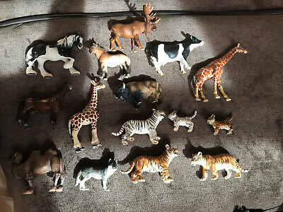 Schleich Lot Of Animals, Horses, Wild Animals, Pets- 15 Total Pieces Some Rare