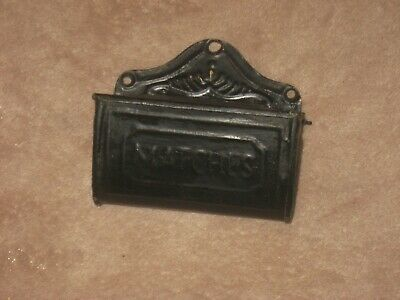 Vintage 1920'S Tin Wall Mount Matches Holder Safe With Striker On Lid  Nice!