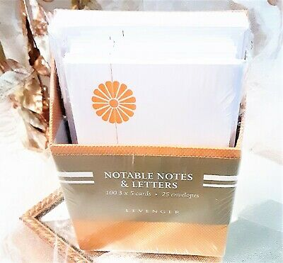 NEW! Levenger Notable Notes & Letters Gold Caddy 100 3 X 5 IN Cards 25 Envelopes