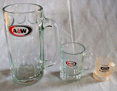 "Lot of Three (3) A & W Root Beer Mugs ""All American Food""  7"", 3-1/4"" 1-3/4"""