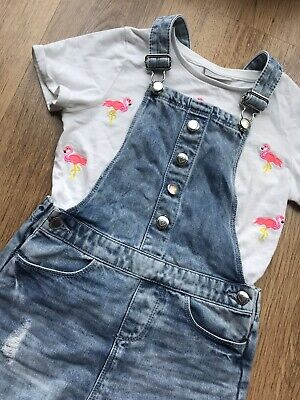 Girls Denim Dungaree And Top Outfit Age 8 Years