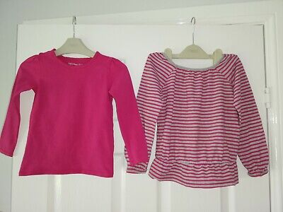 Two Pack Girls GAP Long Sleeved Tops. Pink & Grey Striped & Plain Pink. Age 4