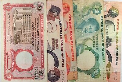 Nigeria...LOT OF 5 WORLD NOTES...Low Grade And Better