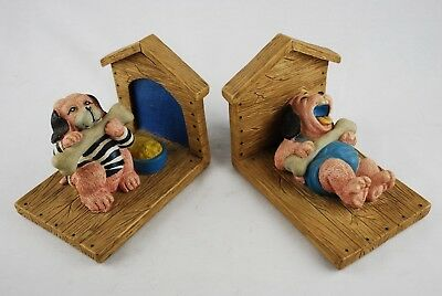 Children Bookends - Set of Book Ends - Dogs with Bones Dog House Cartoon