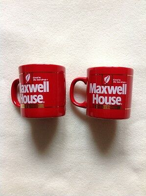 Pair Of Vintage Maxwell House Instant Coffee Mugs Fpc England Red Mug