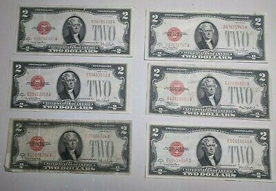 Six (6) 1928-G $2 Two Dollars *Star* Red Seal Legal Tender United States Notes