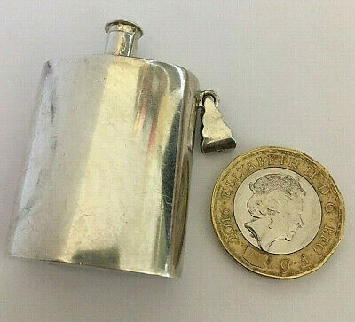Small Miniature Tiny Vintage Solid Silver Hip Flask Pendant Necklace