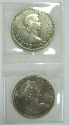 Two (2) CANADA SILVER DOLLARS, DATED 1958 AND 1965, BOTH in AU CONDITION!!