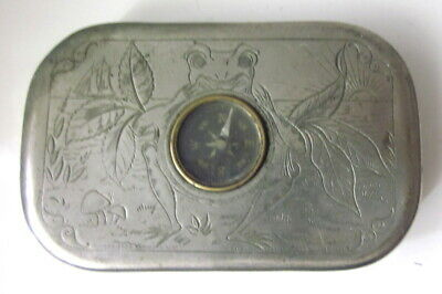 antique Rose Leaf Chewing Tobacco compass tin frog graphics P. Lorillard & Co.