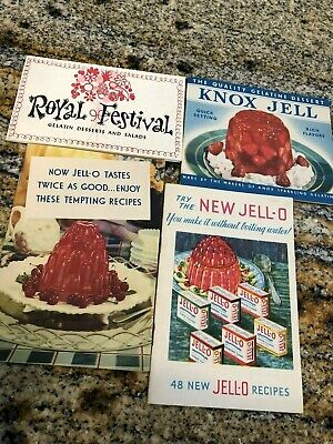 Vintage Lot of 4 Gelatine recipe pamphlets: Jell-o, Knox, Royal