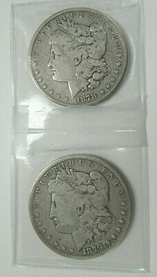 TWO (2) US MORGAN SILVER DOLLARS, Dated 1878-S and 1879-S, BOTH in VG CONDITION!