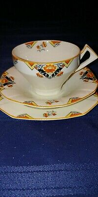 Alfred Meakin TeaCup and Saucer-Art Deco-Marigold