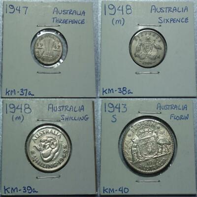 1943-48 AUSTRALIA Four PRE-Decimal SILVER Coins 3 and SIXPENCE Shilling & FLORIN