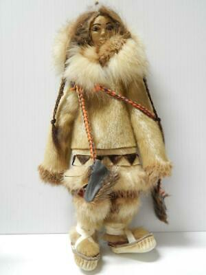 Vintage Alaska Eskimo Nwc Indian Doll Wood Carved Face Clean+Pristine