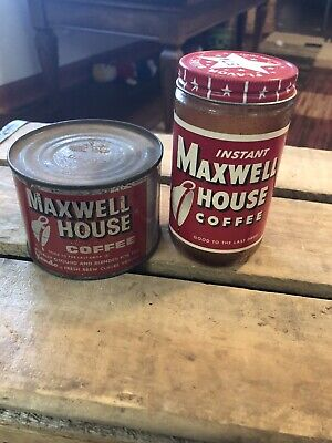 Vintage Maxwell House Instant Coffee 2 oz Red Glass Jar Paper Label W/small Can