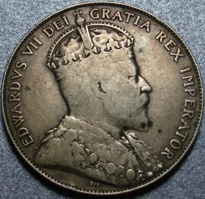 1910 CANADA Scarce SILVER 50¢ or FIFTY CENTS 1 Year ONLY Type >EDWARDIAN LEAVES