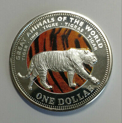 2009 Fiji 1 Dollar Colorized Great Animals Of The World Tiger Coin
