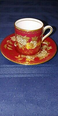 Wedgwood Tonquin Ruby Bond Shape Demitasse Cup and Saucer