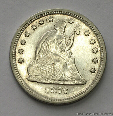 1877-S San Francisco Mint Silver Seated Quarter About Uncirculated Details