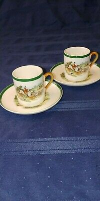 Spode Pair of  Demitasse Cups and Saucers - Off to Draw
