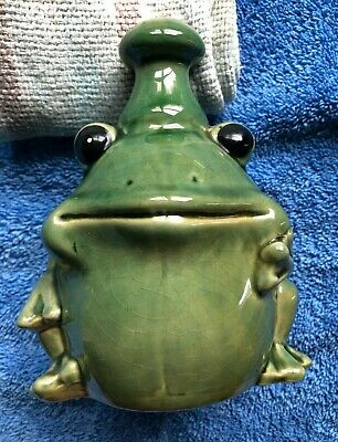 """Super Cute Rotund 6""""x6"""" Ceramic Frog Candle Holder Green Color"""