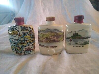 lot 3 vintage miniature flask liquor bottles West Country Cream British Sherry