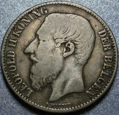 """1887 BELGIUM Silver """"TWO FRANCS"""" with DUTCH LEGEND Leopold II HE OWNED the CONGO"""