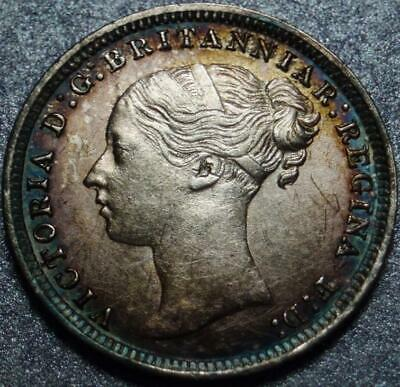 """1879 GREAT BRITAIN Nice SILVER """"3 PENCE"""" Possibly MAUNDY >Toned< QUEEN VICTORIA"""