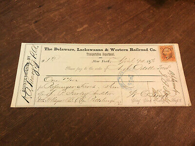 1870 Delaware Lackawanna & Western Railroad Bank Check New York Revenue Stamp!