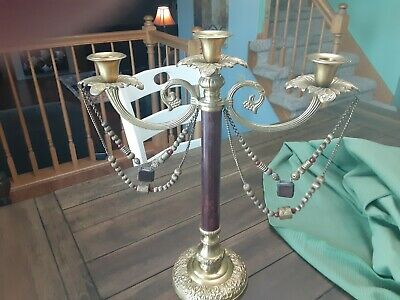 Bombay 3 Arm Candelabra Candle Holder Candlestick Rustic Brown Metal