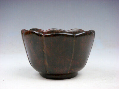Vintage Nephrite Jade Stone Carved Sculpture Lotus Shaped Tea Cup #05242003