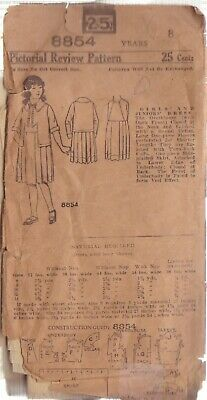 Pictorial Review Vintage Pattern 8854 Size 8 Girl's Dress