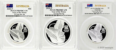 2020-P Australia Year of the Mouse Silver 3-Coin Set ($.50, $1, $2) PCGS PR69
