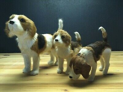 Lot of (3) Beagle Dog Figurine Collectible hand made with Goat Hair / Fur RARE