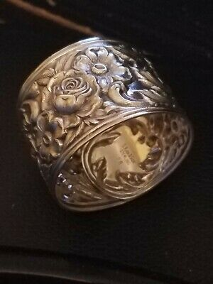 Bright Stunning S. Kirk & Son #28 REPOUSSE STERLING Napkin Ring No monogram!