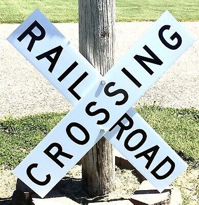 "Authentic Railroad Crossing 9"" x 48"" Aluminum 2 Piece Sign ""Near Mint"""