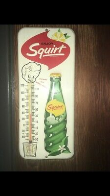 VINTAGE 1963 ENJOY SQUIRT ADVERTISING THERMOMETER,Great Condition.