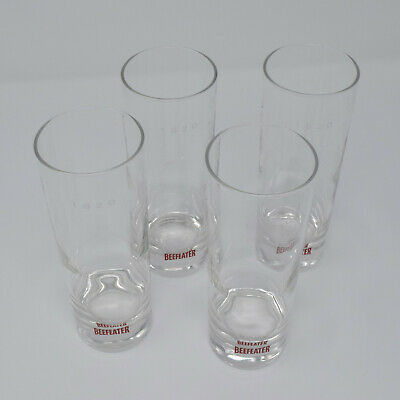 4 Beefeater 1820 London Dry Gin Glass Tom Collins 6-1/2 Tall Cocktail Tumbler