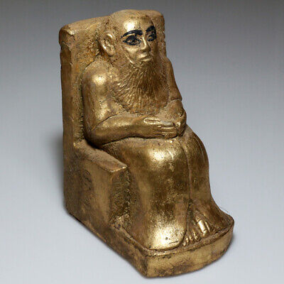 Massive Egyptian Ancient Stone-Gilded Statue - King Seated On Throne 863 Grams