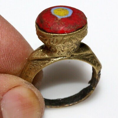 Intact-Phoenician Bronze & Gilded Decorated Ring With Colored Stone Ca 300 Bc