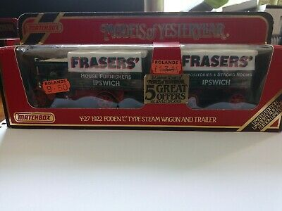Matchbox models of yesteryear Y-27 1922 FODEN 'C' TYPE STEAM WAGON AND TRAILER
