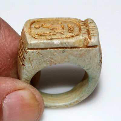 Intact-Egyptian Glaze Seal Ring Ca 100 Bc - Ad