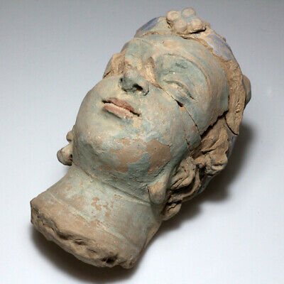 SCARCE-GANDHARA STUCCO FEMALE HEAD FRAGMENT TERRACOTTA 200-300AD-1113 grams