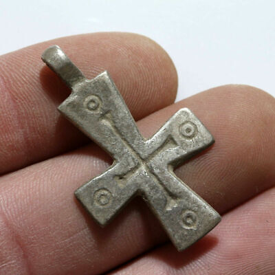 Intact Ancient Byzantine Silver Christian Cross Pendant Circa 500-1000 Ad