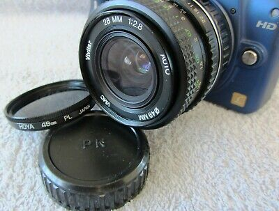TESTED VIVITAR F2.8 28mm WIDE ANGLE LENS + HOYA PL FILTER & REAR CAP - PENTAX PK