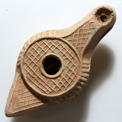 Museum Quality Roman Era Near East Terracotta Decorated Oil Lamp Ca 100-50Bc