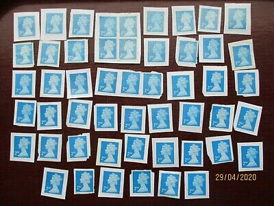 50  GB 2nd CLASS BLUE UNFRANKED STAMPS ON PAPER